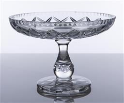 Sale 9245R - Lot 18 - A good large hand cut lead crystal comport C: mid century, Ht: 17cm x D: 25cm