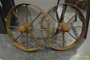 Sale 8284 - Lot 1050 - Pair of Vintage Metal Wheels