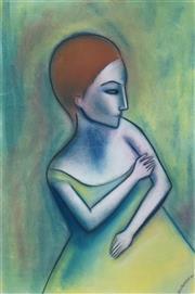 Sale 8492 - Lot 552 - Robert Dickerson (1924 - 2015) - Portrait in Green 54 x 36cm