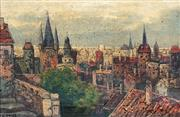 Sale 8683 - Lot 582 - G Prior (Late C19th) - Overlooking the Town 20 x 30.5cm