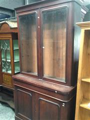 Sale 8728 - Lot 1056 - Victorian Mahogany Bookcase, with two arched glass panel doors, long drawer & two timber panel doors (key in office)