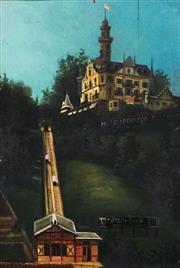 Sale 8901A - Lot 5055 - Artist Unknown - Chateau Gütsch Funicular, Lucerne, Switzerland (c.1885) 31 x 21 cm