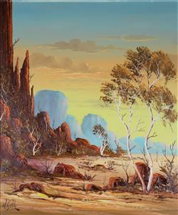 Sale 9093A - Lot 5044 - Henk Guth (1921 - 2002) - Central Australia 59 x 48 cm (frame: 71 x 61 x 3 )