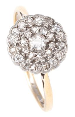 Sale 9124 - Lot 342 - A VINTAGE 18CT GOLD DIAMOND CLUSTER RING; 10mm round top set in silver with 27 single cut diamonds in gold, size K, wt. 2.24g.