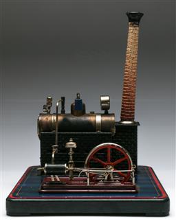 Sale 9138 - Lot 12 - Vintage Horizontal Steam Engine by Bing of Germany (27cm x 31cm)