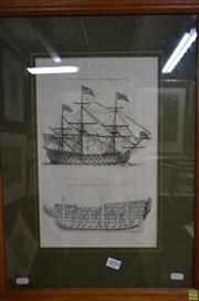 Sale 8578T - Lot 2050 - I. Taylor Ship engraving, 59 x 44cm