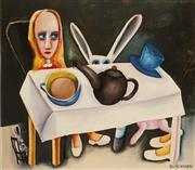 Sale 8633A - Lot 5013 - Charles Blackman (1928 - 2018) - Feet Beneath The Table 28 x 32.5cm (image), 52 x 51.5cm (frame)
