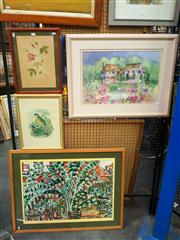 Sale 8663 - Lot 2129 - 3 Works: Helen Power - Garden View, 1984, mixed media on paper, plus 2 botanical prints, framed and various sizes -