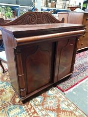 Sale 8792 - Lot 1095 - Mid 19th Century Cedar Chiffonier, with scroll carved back, cushion shaped frieze drawer, above two shield panel doors with acorns,...