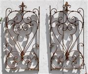 Sale 8950G - Lot 87 - Pair of old French wrought iron panels  83cm Height 42cm Wide