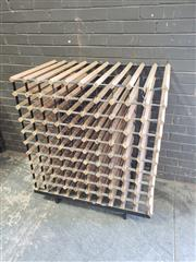 Sale 8962 - Lot 1040 - Large Timber and Metal Wine Rack (H:113 x W:96 x D:60cm)