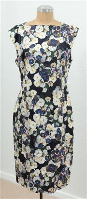 Sale 9066H - Lot 91 - An Alannah Hill square necked cap sleeve dress with a repeating floral pattern and zip up back, Size AUS 14