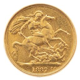 Sale 9130E - Lot 101 - A Queen Victoria 22 carat British double sovereign dated 1887, wt. 15.58g