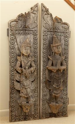 Sale 9164H - Lot 21 - Pair of possibly 19th century Burmese shrine door panels both depicting figures one representing respect the other holding shell, ev...