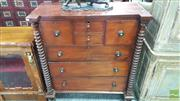 Sale 8402 - Lot 1008 - Victorian Cedar Chest of Seven Drawers with Bobbin Twist Supports