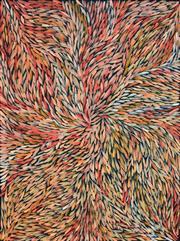 Sale 8408 - Lot 510 - Jeannie Petyarre (c1956 - ) - Bush Yam Leaves 97 x 73cm