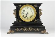 Sale 8441 - Lot 2 - Ansonia Black Slate Mantle Clock
