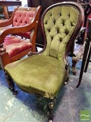 Sale 8539 - Lot 1075 - Victorian Ladys Chair, upholstered in green buttoned velvet & on cabriole legs