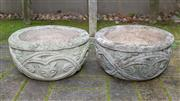 Sale 8568A - Lot 5 - A pair of Gothic style composite circular jardinières, D 34cm