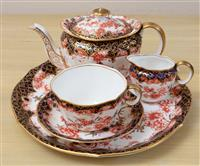 Sale 8963H - Lot 15 - A Royal Crown Derby Imari cabaret set comprising a tray, teapot, cup and saucer, tray Length is 24cm