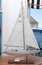Sale 8990H - Lot 6 - A scale timber model of Australia II on a timber plinth, Height approx 94cm x Length 60cm