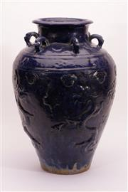 Sale 9015C - Lot 724 - Blue Glazed Dragon Themed Earthenware Vase