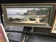 Sale 9024 - Lot 2039 - John Emmett (1927 - ) Low Tide, Inlet oil on board 27 x 59cm (frame), signed -