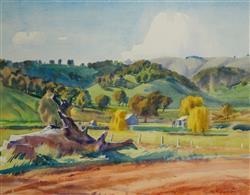 Sale 9093A - Lot 5017 - George Crossley (1919 - 1973) - Landscape, N.E. VIC 41 x 53 cm (frame: 66 x 77 x 3 cm)
