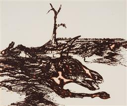 Sale 9133 - Lot 512 - Sidney Nolan (1917 - 1992) Untitled (Bull In Landscape) etching 25 x 29.5 cm (frame: 67 x 52 x 3 cm) signed lower right, studio embo...