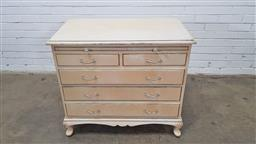 Sale 9157 - Lot 1031 - Painted French style timber chest of 6 drawers (h83 x w92 x d51cm)