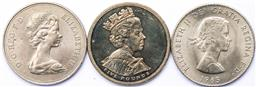 Sale 9246 - Lot 83 - A British Crown commemorating Elizabeth and Philips anniversary, together with a 1965 Churchill commemorative coin, and a 2002 £5 coin