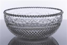 Sale 9245R - Lot 21 - An exceptional antique elaborate hand cut lead crystal bowl, C: 1900, the finely scallop cut rim above a deep band of fine floral ga...