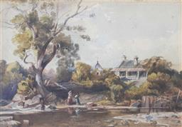 Sale 8620A - Lot 15 - Artist Unknown, Australian School (19th century) - House by the River, possibly Georges River