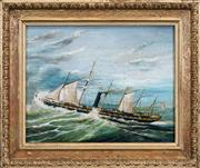 Sale 8443 - Lot 576 - C19th English School (XIX) - Nautical Scene 18.5 x 24cm
