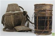 Sale 8560 - Lot 77 - Cultural Solomon Isle Drum and Basket