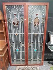 Sale 8611 - Lot 1012 - Pair of Framed Leadlight Panels (177 x 51cm)