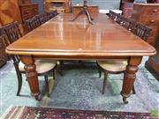 Sale 8617 - Lot 1009 - Victorian Style Mahogany Extension Dining Table, with three leaves & turned reeded legs (H: 74 L: 152 W: 134cm - Leaf 51cm)