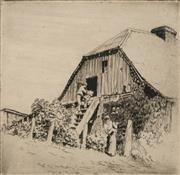 Sale 8696A - Lot 5042 - Lionel Lindsay (1874 - 1961) - Entering the Barn 11.5 x 12cm