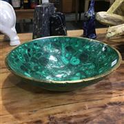 Sale 8758 - Lot 29 - Malachite Bowl with Brass Rim