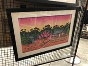 Sale 8861 - Lot 2020 - Reg Mombassa - Home Amongst The Gumtrees, print, 53 x 73cm (frame)
