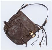 Sale 8891F - Lot 55 - A Chloe brown leather shoulder bag with gold-toned hardware