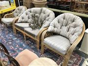 Sale 8896 - Lot 1093 - Cane Three Piece Lounge Pair Of Armchairs & Two Seater