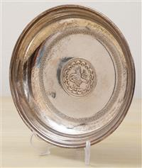 Sale 8963H - Lot 16 - A 900 silver dish inset with an Ottoman Mehmed V coin with Tugrah and inscription, diameter 14cm weight 110g