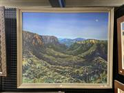 Sale 8995 - Lot 2027 - Artist Unknown Moonlight Over the Blue Mountains 1984 oil on canvas on board, 84 x 99cm (frame) signed and dated