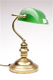 Sale 9078 - Lot 36 - Brass Bankers lamp with green shade (H37cm) UNTESTED