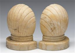 Sale 9173 - Lot 7 - A pair of marble clam shell form bookends (H:14cm)