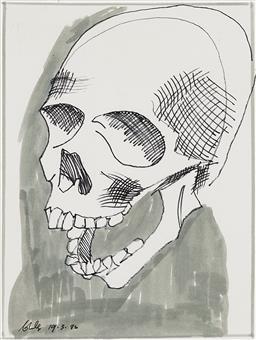 Sale 9221JM - Lot 5032 - CHARLES BLACKMAN (1928 - 2018) Skull, 1982 felt tip pen on paper 24 x 18 cm (frame: 41 x 35 x 2 cm) signed and dated lower left