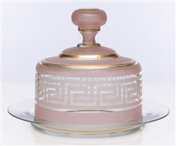 Sale 9245R - Lot 22 - An antique crystal cheese dish C: 1900, the large lid decorated with pale pink and white greek key frosted bands with gilt highlight...