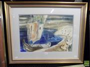 Sale 8407T - Lot 2055 - Artist Unknown - Sail Boat and Beach Cove, watercolour, 33 x 47, signed lower right