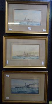 Sale 8578T - Lot 2020 - W J Sutton (3 works) - H.M.S. Champion; H.M.S Lowescroft; Frank Wood 1916 26 x 36cm, each (frame)